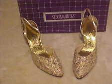 LADY'S GLITTER GOLD FABRIC OPEN BACK PUMP DRESS SHOES NIB SOCIALITES SIZE 8 N