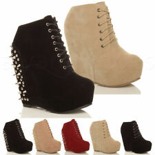 "Synthetic Very High Heel (greater than 4.5"") Wedge Lace Up Women's Boots"