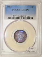1881 Indian Head Cent PCGS MS-64 BN; Eye Appeal!