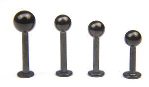 14g 16g 6mm-25mm Labret Bar Lip Cheek Dimple Ear Stud Piercing Black Extra Long