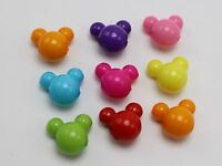 150 Mixed Bubblegum Color Acrylic Mouse Face Charm Beads 12mm