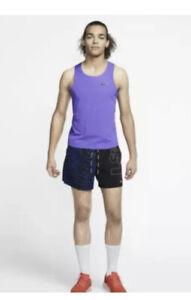 Nike Aeroswift Running Tank Top Slim Singlet Purple AQ5247-550 Men's Size Small
