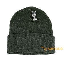 Dark Grey Beanie Plain Knit Ski Hat Skull Cap Cuff Warm Winter Blank Unisex New