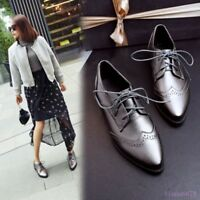 Spring Women's Pointed Toe Brogue Pumps Shoes Lace Up Low Heel Collegiate Casual