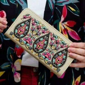 Womens Ladies Embroidered Long Zip Purse Wallet Card Holder Clutch Indian Design