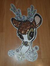 Sequin Net winter rudolph DEER reindeer xmas hotfix lace applique motif patch