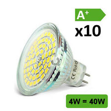 10 X LAMPADINE LED Riflettore 4w = 40w gu5.3 mr16 3000k Bianco Caldo 12v AC/DC 120 ° UK