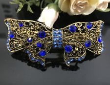 USA seller Antique Gold Tone Flower Rhinestone Blue Color Hair Clip Barrette ha2