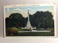 Soldiers Monument Common New Bedford Mass Bristol Co Vintage Postcard Unposted