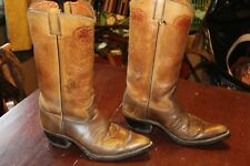 TALL VINTAGE TOOLED LEATHER COWBOY BOOTS 7.5 EE