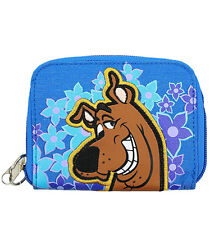 Blue Scooby Doo Embroirdered Patch With Flowers Zipper Wallet-New With Tags!