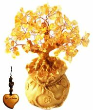 Feng Shui Citrine/ Yellow Crytal Money Tree in a Money Bag for Wealth Luck (W..