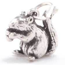 SQUIRREL w ACORN Autumn Jewelry Pendant Charm Solid Sterling Silver .925 3D 925