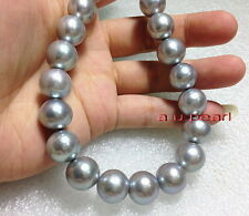 """AAAAA 17""""12-13mm Natural REAL ROUND south sea silver gray pearl necklace 14K"""