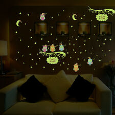 Cartoon Night Lights Star Moon Owl Tree Wall Decals Sticker Kids Room Home Decor