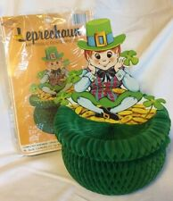 Vintage St Patricks Day Leprechaun Pot of Gold Honeycomb Table Decor Beistle