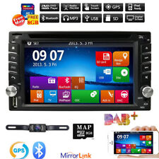 Double 2 DIN In-dash GPS Nav Car DVD Player Bluetooth Auto Stereo Radio Maps+CAM