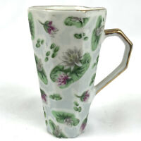 Vintage Tall Demitasse Tea Cup Japan Pink Purple Floral Gold Trim China 3""