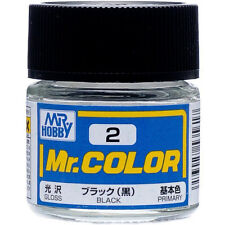 GSI CREOS GUNZE MR HOBBY Color C002 C2 Black LACQUER PAINT 10ml MODEL KIT NEW