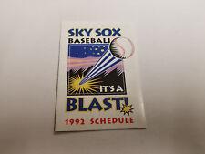 Colorado Springs Sky Sox 1992 Minor Baseball Pocket Schedule - KSSS