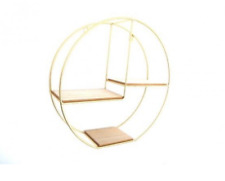 Gold metal wire gold Round wall shelves bedroom living room display shelf