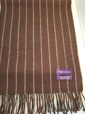 Ralph Lauren Purple Label Cashmere Chalk Stripe Scarf Brown...NEW