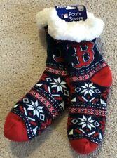 BOSTON RED SOX Women's Logo Tall Footy Non Skid SLIPPER SOCKS Size 6-10 NEW