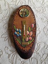 """Termometro in legno con decorazione, immagine, scritta """"Benedici la nostra casa"""""""
