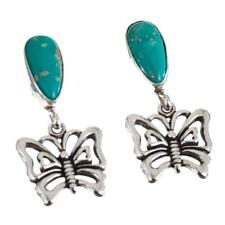 Navajo Turquoise Earrings Sterling Silver Old Pawn Style BUTTERFLY Dangle Light