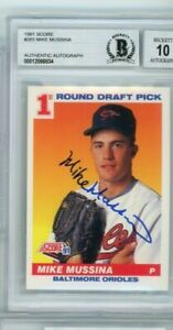 Mike Mussina 1991 Score #383 Signed Autographed Card Beckett BAS Graded 10