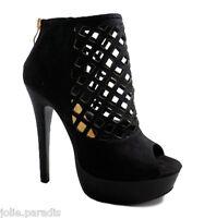 High Heel Platform Suede Open Toe Shoes Boots Laser Cut Ankle Fetish Zip Womens
