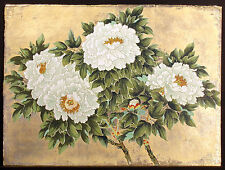 "An-Li Han ""Peonies"" Hand Signed Serigraph Art with Gold Leaf, floral, China, OBO"
