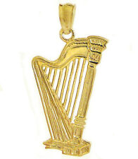 New 14k Yellow Gold Musical Instrument Harp Pendant Charm