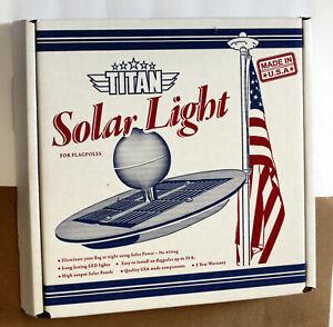Titan Solar Flagpole Light Silver Made in USA