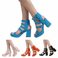 WOMENS LADIES PEEPTOE HIGH BLOCK HEEL PLATFORM STRAPPY SANDAL SHOES SIZE 3-8