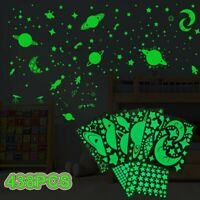 438Pcs Glow In The Dark Luminous Stars Moon Planet Space Kid Wall Stickers Decal