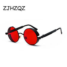 Women Fashion Round Metal Sunglasses Steampunk Retro Vintage Red Clear Pink Lens