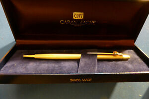 Caran d'Ache Gold Plated Ballpoint Pen with Box - Near Mint Working Condition