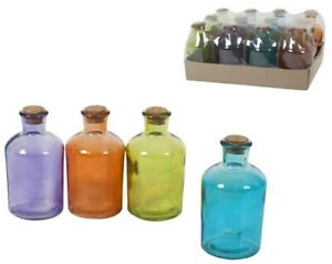 Set Of 12 Small Round Glass Bottles & Cork Assorted Colours Liquor Bottle 250ml