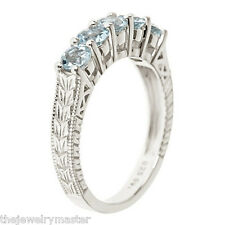 AQUAMARINE WEDDING BAND RING ROUND 4mm 925 STERLING SILVER WOMENS 1.15 CARATS
