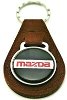 Vtg Mazda Brown Leather Automotive Car Metal Key Chain Brown FOB 1970s NOS New