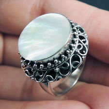 MOTHER OF PEARL & 925 Sterling Silver Ring Jewellery, Size M-UK, 6.5-USA