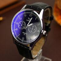 Luxury Mens Army Sport Military Leather Quartz Watch Business Dress Wrist Watch