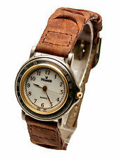 VISAGE:WOMENS' GENUINE BROWN BRAIDED LEATHER BAND, ANALOG QUARTZ WATCH