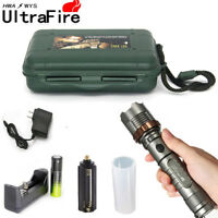 Tactical Zoomable 50000LM T6 LED Flashlight Lamp Torch 18650 Battery Charger