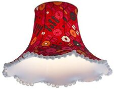 Lampshade in vintage Swedish fabric red orange for standard lamp / ceiling lamp