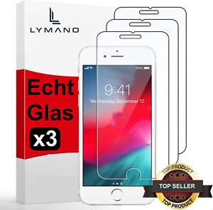 3x Echt Glas iPhone 8 7 6 iPhone SE 2020 iPhone Panzerfolie Schutz Hartglas 9H