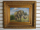 F35191E:  Antique Gold Framed Oil on Canvas Painting Father Elephant with Son