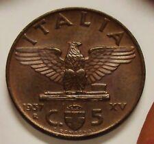 5 CENTESIMI IMPERO VITTORIO EMANUELE III RE DI ITALIA 1937 FDC SIGILLATA