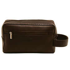 Ashwood - Brown Wash Bag with Carrying Handle in Smooth Buffalo Leather